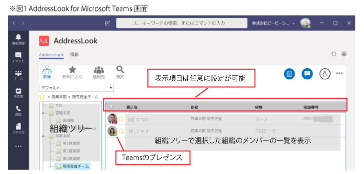AddressLook for Microsoft  Teams画面